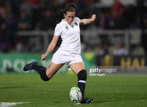 Emily Scarratt of England kicks her team's second penalty during the Women's Rugby World Cup 2017 Semi Final match between England and France at the...