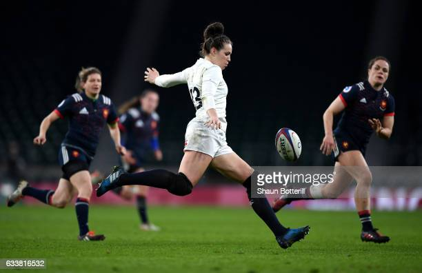 Emily Scarratt of England kicks the ball during the Women's Six Nations match between England and France at Twickenham Stadium on February 4, 2017 in...