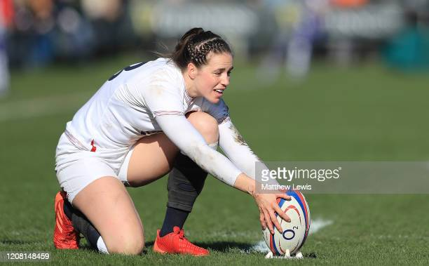 Emily Scarratt of England lines up a conversion kick during the Women's Six Nations match between England and Ireland at Castle Park on February 23...