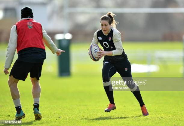 Emily Scarratt of England looks for space during an England Women's training session at Exeter University on March 07 2019 in Exeter England