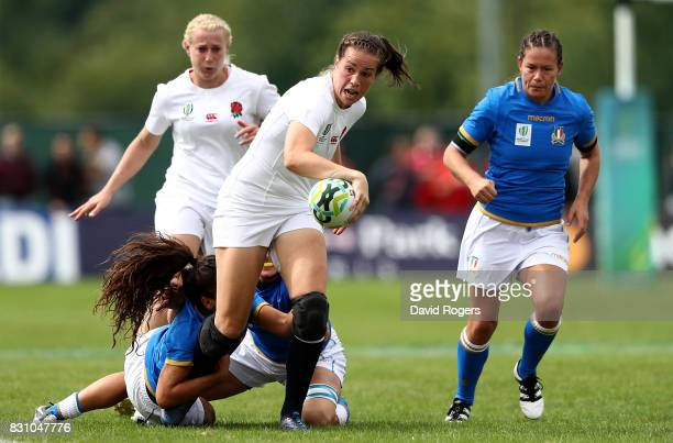Emily Scarratt of England makes a break during the Women's Rugby World Cup 2017 between England and Italy on August 13 2017 in Dublin Ireland