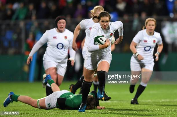 Emily Scarratt of England makes a break during the Women's Six Nations match between Ireland and England at Donnybrook Stadium on March 17 2017 in...