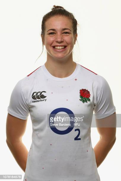 Emily Scarratt of England poses for a portrait during the England Women's Squad photo call at Bisham Abbey on January 6 2019 in Marlow England