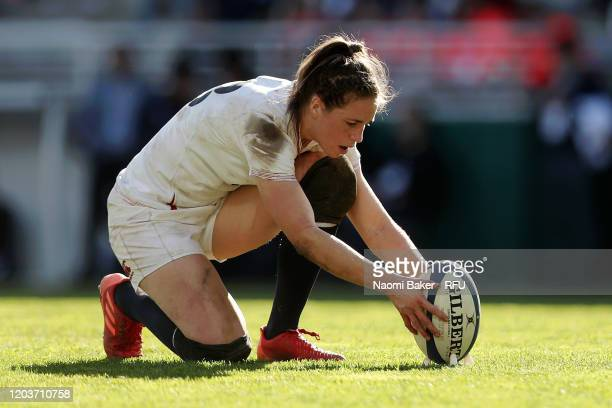 Emily Scarratt of England prepares to convert a try during the Women's Six Nations Tournament match between France and England on February 02 2020 in...