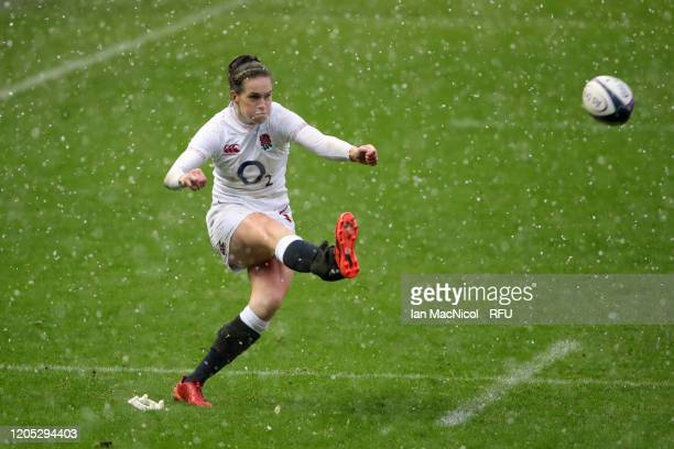 Emily Scarratt of England scores a conversion during the Women's Six Nations match between Scotland and England at Murrayfield Stadium on February 10...