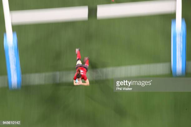 Emily Scarratt of England scores a try during the game between England and Fiji during Rugby Sevens on day nine of the Gold Coast 2018 Commonwealth...