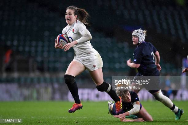 Emily Scarratt of England scores her team's tenth try during the Women's Six Nations match between England Women and Scotland Women at Twickenham...