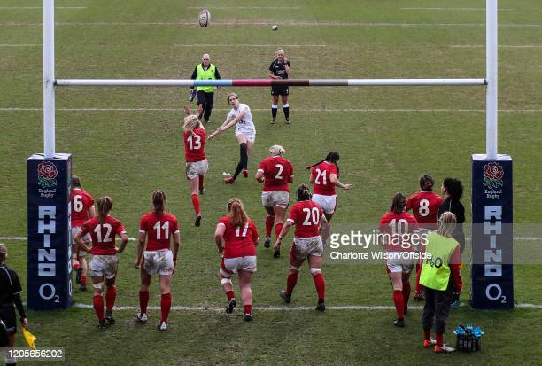 Emily Scarratt of England takes a conversion kick during the Women's Six Nations match between England and Wales Women at Twickenham Stoop on March 7...