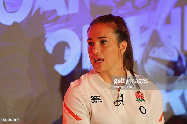 Emily Scarratt of England talks during an England Women's Rugby media announcement at Twickenham Stadium on October 5 2016 in London England