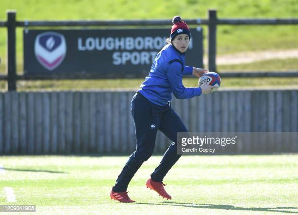 Emily Scarratt of England trains at Loughborough University on February 27 2020 in Loughborough England