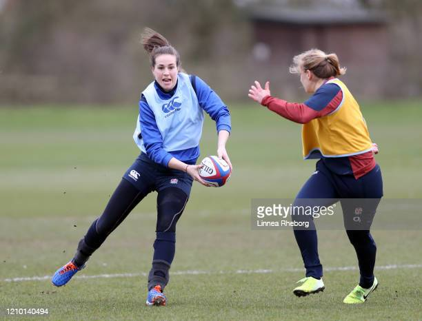 Emily Scarratt of England Women catches the ball during a training session ahead of their Round 4 Six Nations match against Wales Women at Hazelwood...