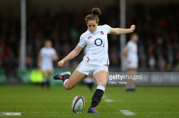 Emily Scarratt of England Women kicks a conversion during the Quilter International match between England Women and France Women at Sandy Park on...