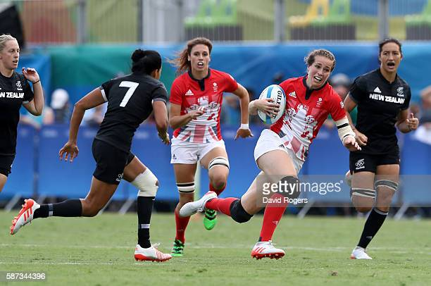 Emily Scarratt of Great Britain breaks through with the ball during the Women's Semi Final 1 Rugby Sevens match between Australia and Canada on Day 3...