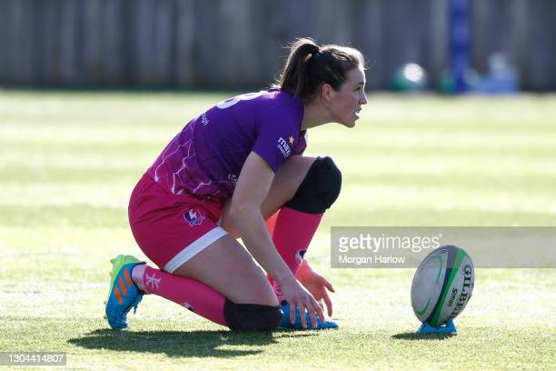 Emily Scarratt of Loughborough Lightning prepares to take the conversion during the Loughborough Lightning and Worcester Warriors Allianz Premier 15s...