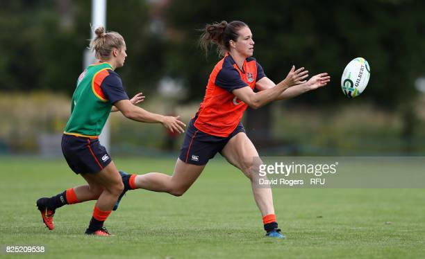 Emily Scarratt passes the ball during the England Women training session held at The Lensbury on August 1 2017 in Teddington England