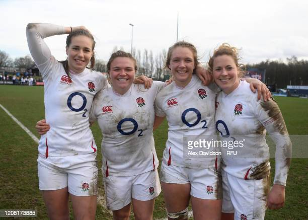 Emily Scarratt Sarah Bern Zoe Aldcroft and Amber Reed of England celebrate after the Women's Six Nations match between England and Ireland at Castle...