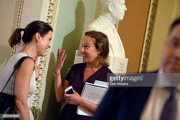 Emily Schillinger center incoming press secretary for Speaker John Boehner ROhio talks with Antonia Ferrier staff director of the Senate Republican...