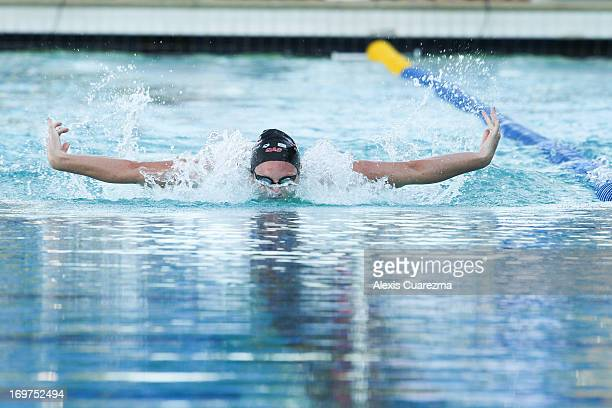 Emily Seebohm competes in the women's 100 meter butterfly on Day Two of the Santa Clara International Grand Prix at the George F Haines International...