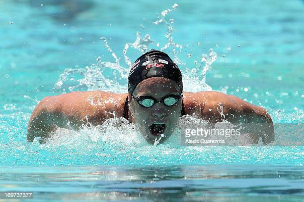 Emily Seebohm competes in the women's 100 meter butterfly prelims during Day Two of the Santa Clara International Grand Prix at the George F Haines...