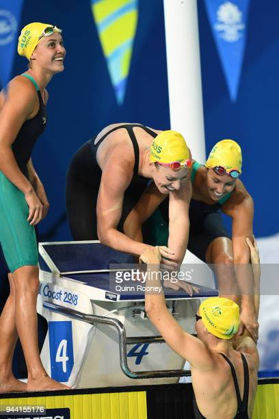 Emily Seebohm Georgia Bohl Emma McKeon and Bronte Campbell of Australia celebrate victory in the Women's 4 x 100m Medley Relay Final on day six of...