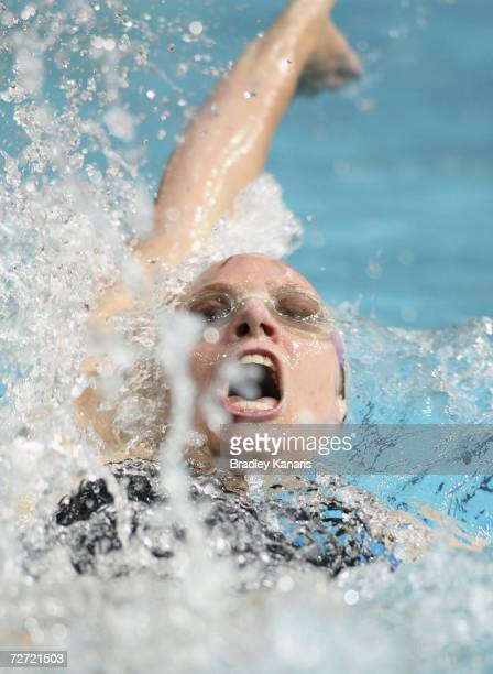 Emily Seebohm in action during the Women's 100m Backstroke final on day three of the Australian Championships at Chandler Aquatic Centre on December...