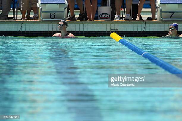 Emily Seebohm in the pool after competing in the women's 100 meter butterfly prelims during Day Two of the Santa Clara International Grand Prix at...