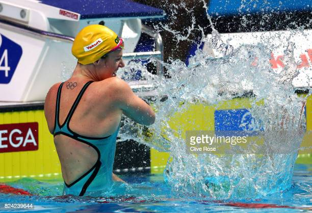 Emily Seebohm of Australia celebrates after winning the gold medal during the Women's 200m Backstroke final on day sixteen of the Budapest 2017 FINA...