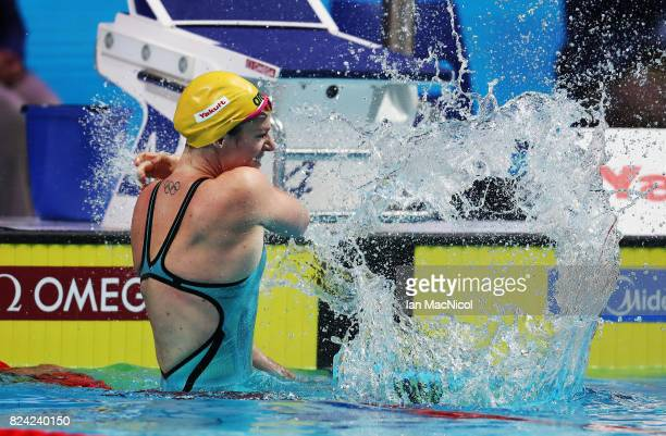 Emily Seebohm of Australia celebrates wining the Women's 200m Backstroke final during the FINA World Championships at the Duna Arena on day sixteen...
