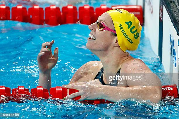 Emily Seebohm of Australia celebrates winning the gold medal in the Women's 200m Backstroke Final on day fifteen of the 16th FINA World Championships...