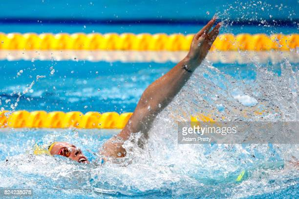 Emily Seebohm of Australia competes during the Women's 200m Backstroke final on day sixteen of the Budapest 2017 FINA World Championships on July 29...