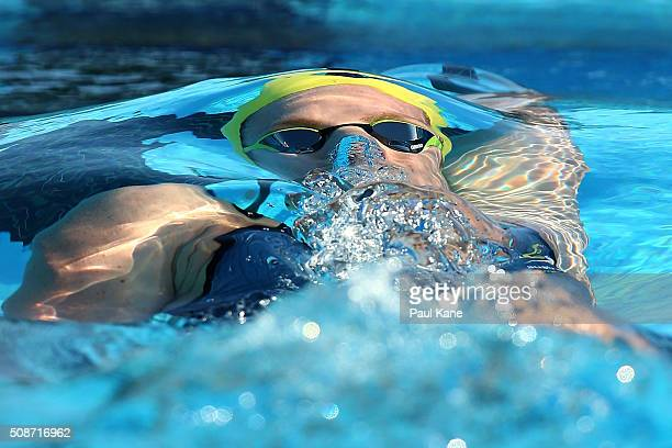 Emily Seebohm of Australia competes in the Women's 100 metre Backstroke during the 2016 Aquatic Superseries at HBF Stadium on February 6 2016 in...