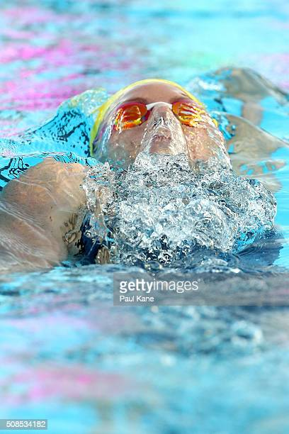 Emily Seebohm of Australia competes in the Women's 2oo metre Backstroke during the 2016 Aquatic Superseries at HBF Stadium on February 5 2016 in...
