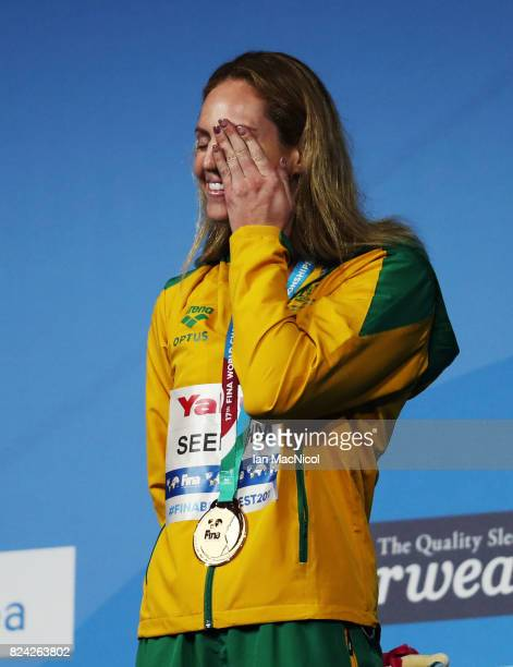 Emily Seebohm of Australia poses with her gold medal from wining the Women's 200m Backstroke final during the FINA World Championships at the Duna...