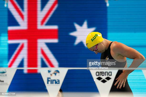 Emily Seebohm of Australia prepares to compete in the 100m Individual Medley on day four of the 13th FINA World Swimming Championships at the WFCU...