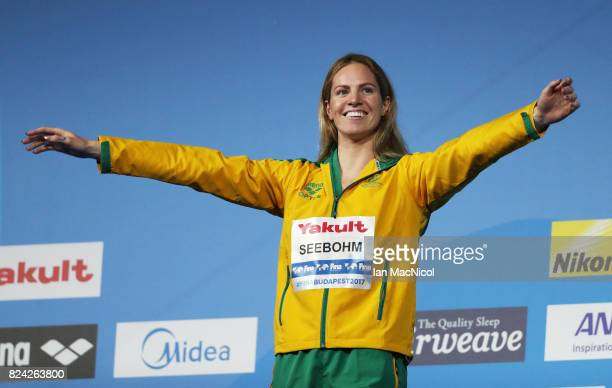 Emily Seebohm of Australia prepares to recieve her gold medal from wining the Women's 200m Backstroke final during the FINA World Championships at...