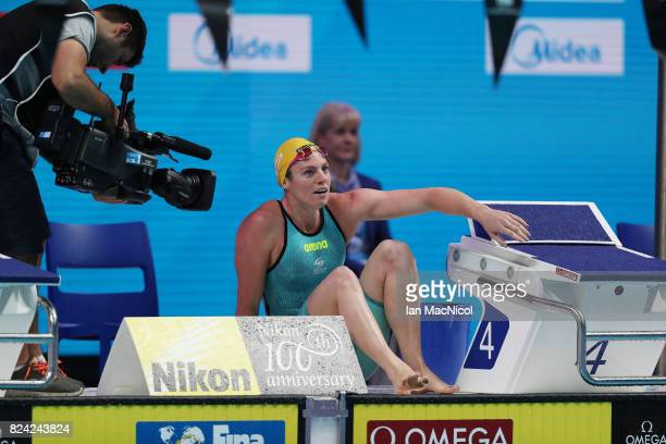Emily Seebohm of Australia reacts after wining the Women's 200m Backstroke final during the FINA World Championships at the Duna Arena on day sixteen...