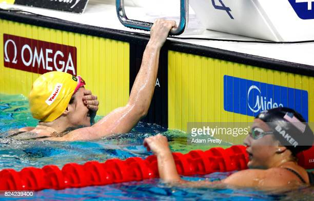 Emily Seebohm of Australia reacts after winning the gold medal during the Women's 200m Backstroke final on day sixteen of the Budapest 2017 FINA...