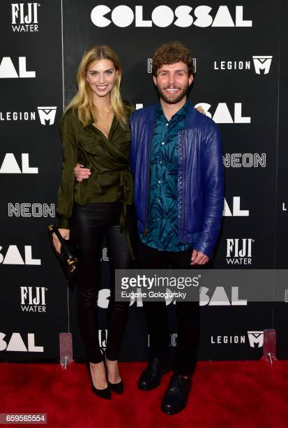 Emily Senko and Tim Weiland attend The Premiere of 'Colossal' CoHosted by FIJI Water at AMC Lincoln Square Theater on March 28 2017 in New York City