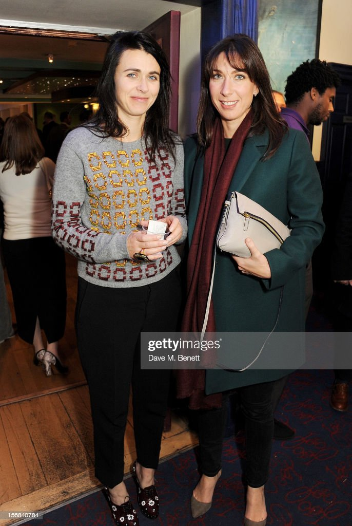 Emily Sheffield (L) and Samantha Cameron attend Tricycle Theatre's 'Red Velvet: The Director's Party' on November 22, 2012 in London, England.