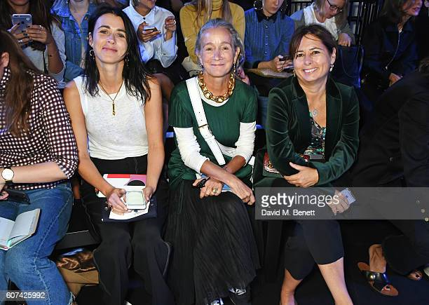 Emily Sheffield Lucinda Chambers and Alexandra Shulman attend the Anya Hindmarch Spring Summer 2017 London Fashion Week Show at The Lindley Hall on...