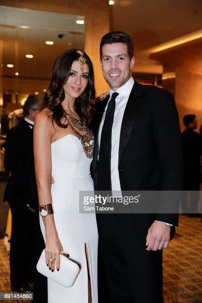 Emily Simms and Pierre Ghougassian arrives ahead of the Men With Breast Intentions 2017 Annual Dinner at Crown Palladium on June 2 2017 in Melbourne...