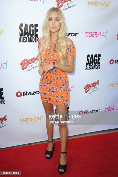 Emily Skinner attends Sage Alexander The Dark Realm Launch Party Cohosted by Innersight Entertainment and TigerBeat Media at El Rey Theatre on July...