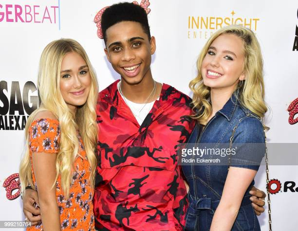 Emily Skinner Bryce Xavier and Lilia Buckingham attend the Sage Launch Party CoHosted by Tiger Beat at El Rey Theatre on July 14 2018 in Los Angeles...