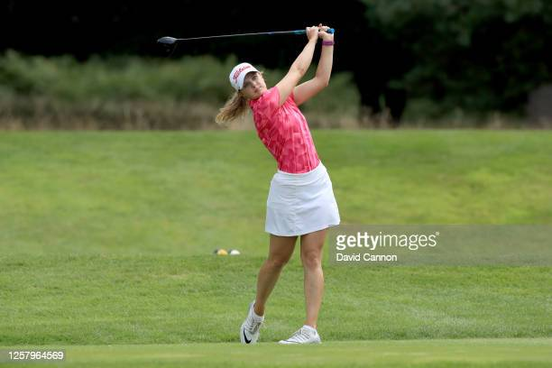 Emily Slater of England plays her tee shot on the second hole during The Rose Ladies Series at Bearwood Lakes on July 23 2020 in Wokingham England