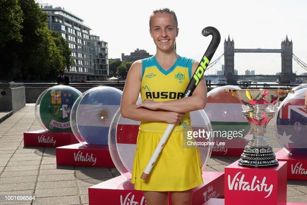 Emily Smith Captain of Australia is pictured in central London today July 18 three days before the Vitality Hockey Women's World Cup gets underway on...