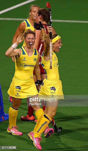 Emily Smith of Australia celebrates after scoring a goal during the International Test match between the Australia Hockeyroos and Great Britain at...