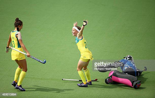 Emily Smith of Australia celebrates scoring the first goal in the Women's Hockey Semi Final between South Africa and Australia at Glasgow National...