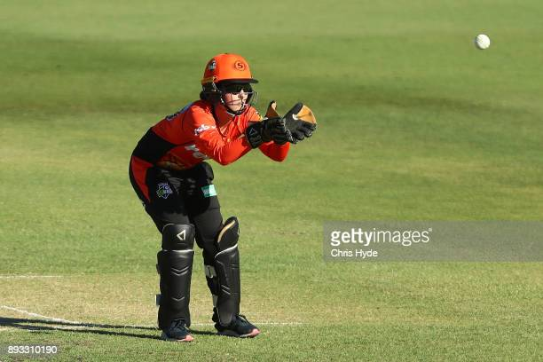 Emily Smith of the Scorchers fields during the Women's Big Bash League match between the Brisbane Heat and the Perth Scorchers at Allan Border Field...