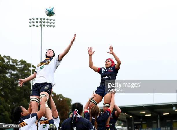 Emily Sogal of the Brumbies and Melanie Kawa of the Rebels compete for a line-out ball during the Super W match between the Melbourne Rebels and the...