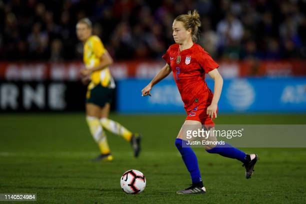 Emily Sonnett of the United States in action during an international friendly against Australia at Dick's Sporting Goods Park on April 4 2019 in...